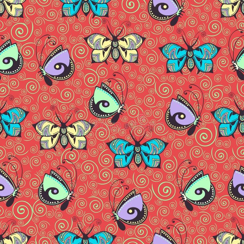 Farfalle modello senza cuciture, disegno della mano, stampa del tessuto, illustrazione dell'estratto di vettore Insetto pastello  illustrazione di stock