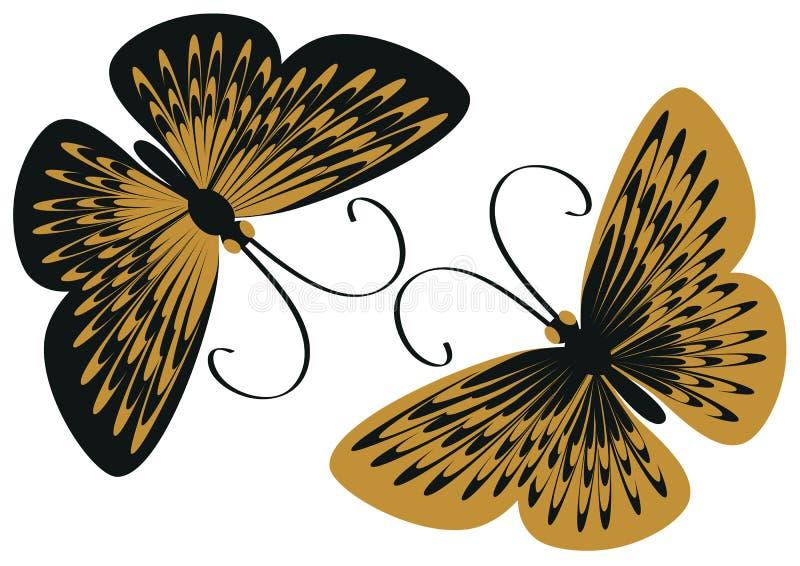 Farfalle nere e gialle fotografia stock libera da diritti
