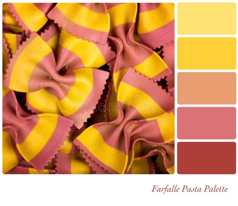 Farfalle pasta palette stock photos