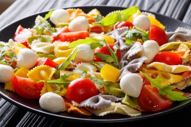Farfalle Pasta With Tomatoes, Arugula And Mozzarella Close ...