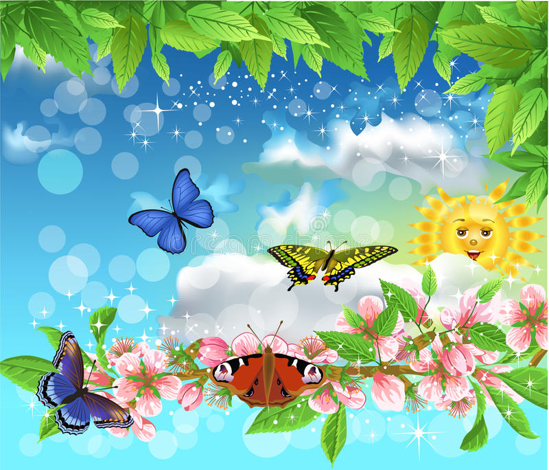 Farfalle in primavera che volano nell'aria royalty illustrazione gratis