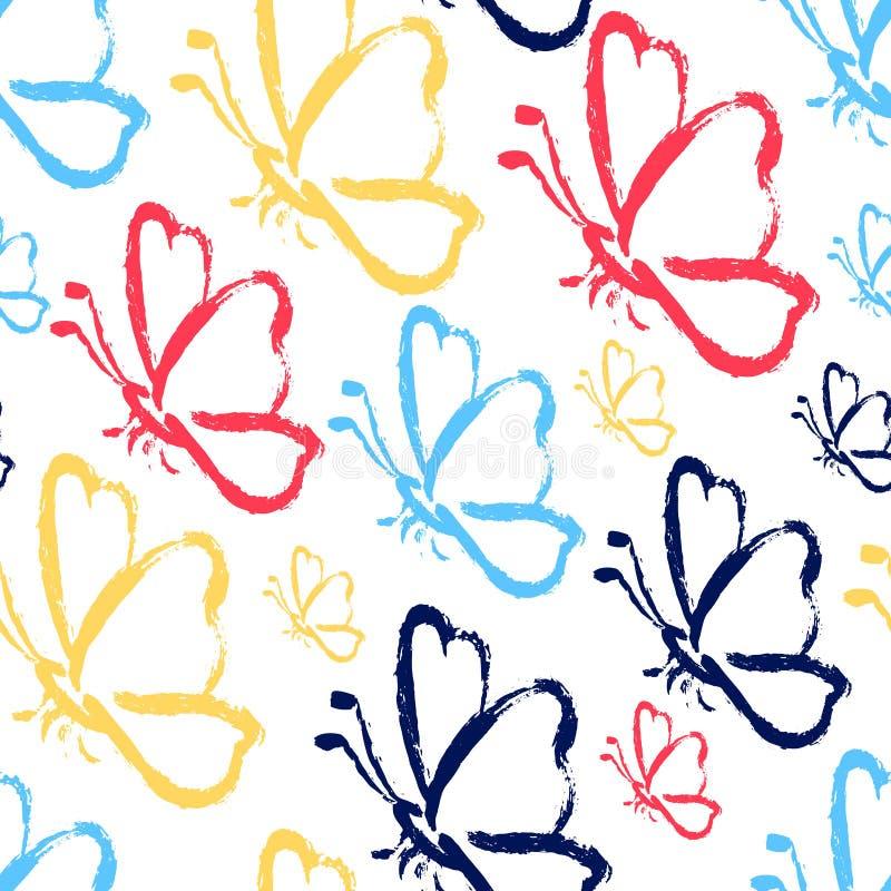 Farfalle senza cuciture di tiraggio della mano royalty illustrazione gratis