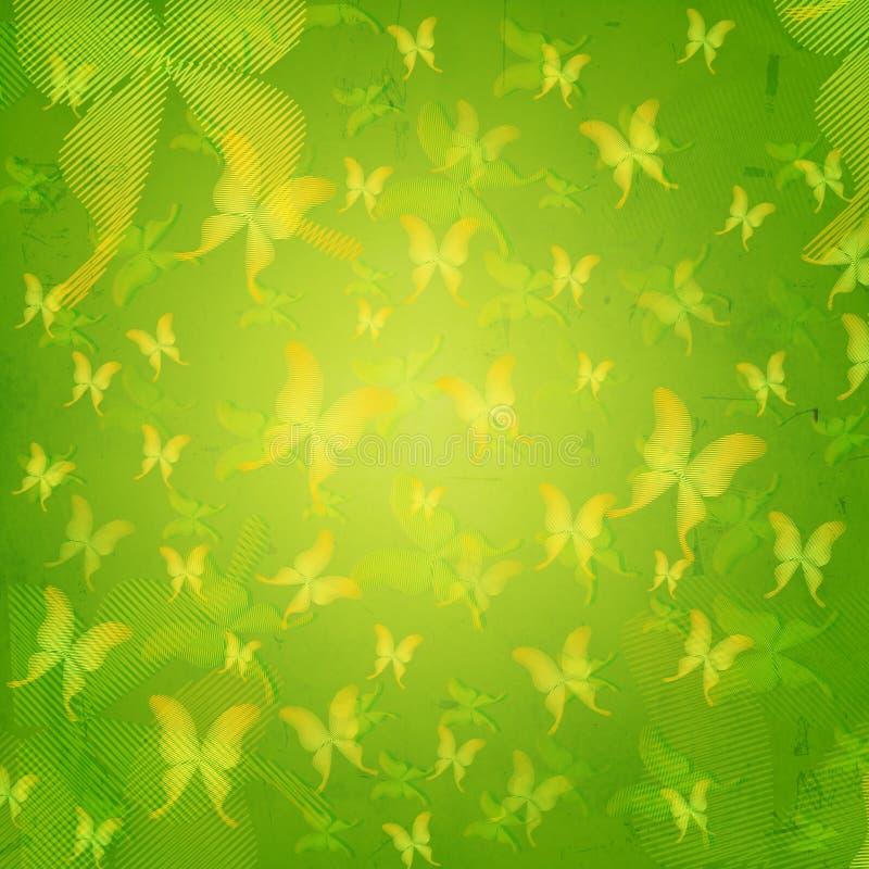 Farfalle a strisce nel vecchio fondo di carta verde illustrazione di stock