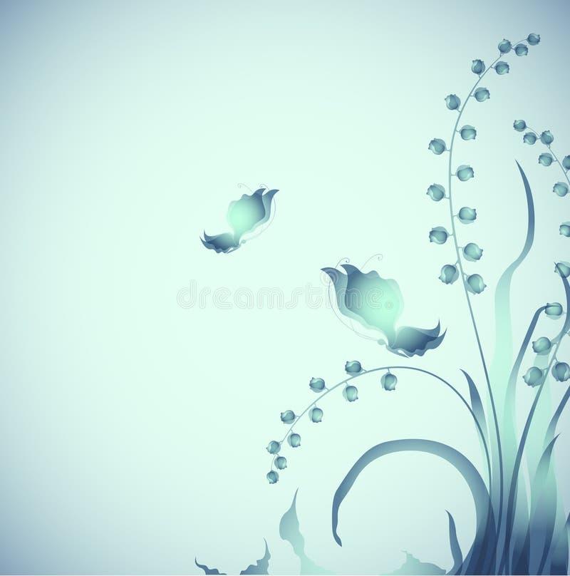 Farfalle su penombra illustrazione di stock