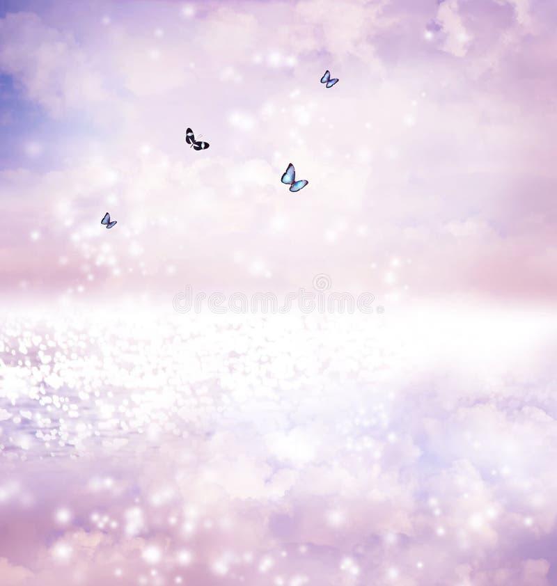 Farfalle sul lago di fantasia royalty illustrazione gratis