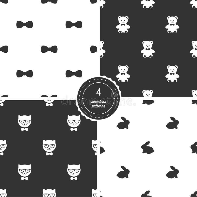 Farfallini, Teddy Bears, gatti dei pantaloni a vita bassa e coniglietti Insieme dei modelli senza cuciture in bianco e nero royalty illustrazione gratis