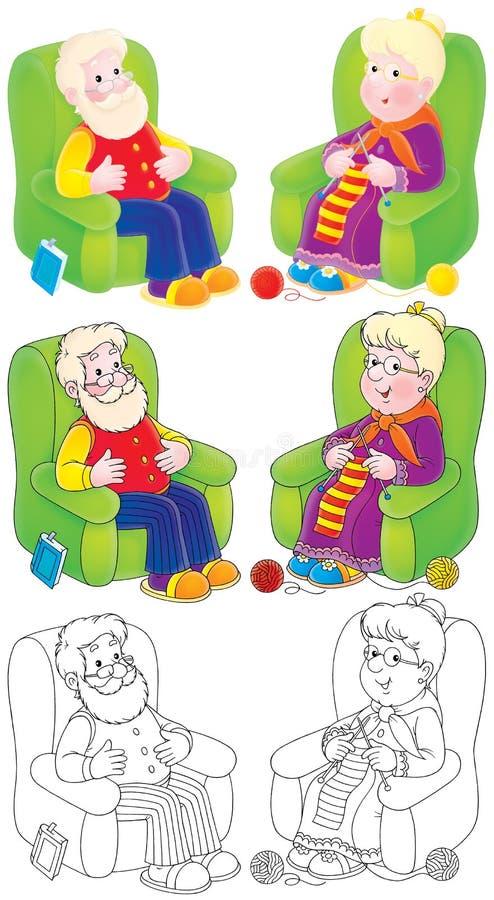 Farfar och farmor stock illustrationer