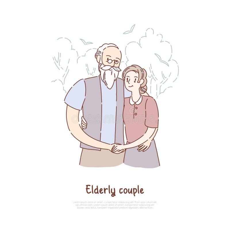 Farfar och farmor som tillsammans står, äldre par som kramar, gamla gifta par, lyckligt avgångbaner royaltyfri illustrationer