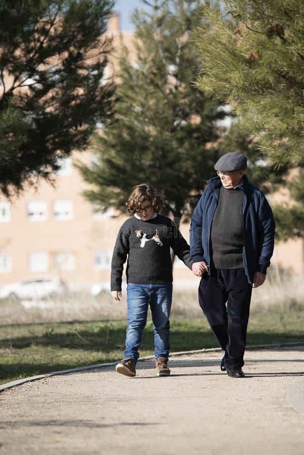 Farfar som att bry sig för hans sonson arkivbild
