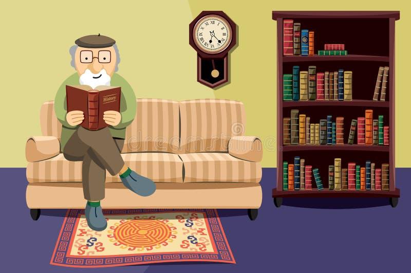 Farfarläsning en boka royaltyfri foto