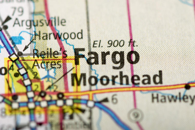 Fargo, North Dakota on map. Closeup of Fargo, North Dakota on a political map of the United States royalty free stock image