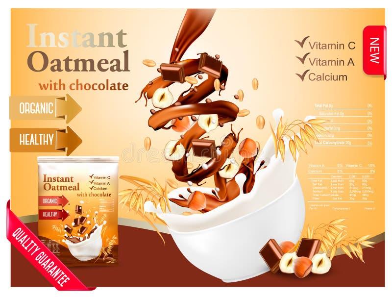 Farina d'avena istantanea con cioccolato e la nocciola illustrazione vettoriale