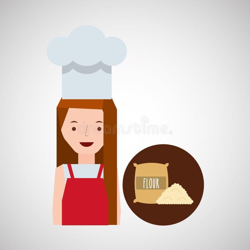 Farina di frumento della ragazza del fornello royalty illustrazione gratis