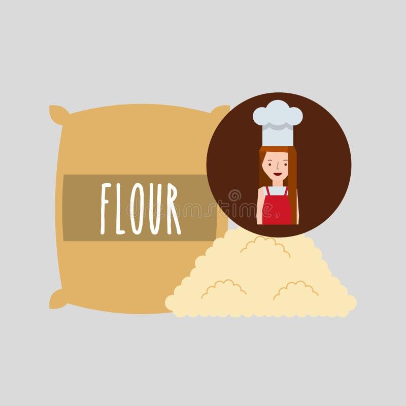 Farina di frumento della ragazza del fornello illustrazione di stock