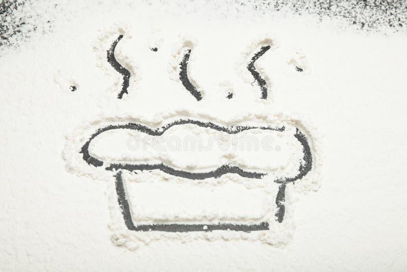 Farine blanche, gâteau peint ou tarte photo libre de droits