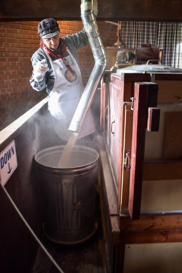 Farine de fraisage fonctionnante de grain d'Authentic De Zwaan Windmill photos libres de droits