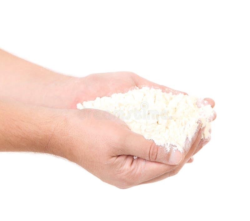 Farine sur des mains photo stock