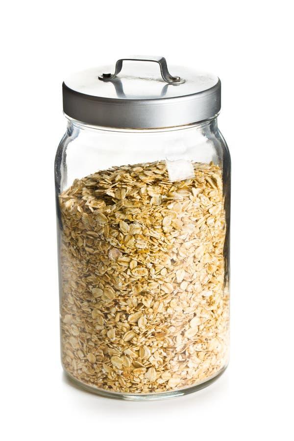 Farinha de aveia em um frasco foto de stock royalty free