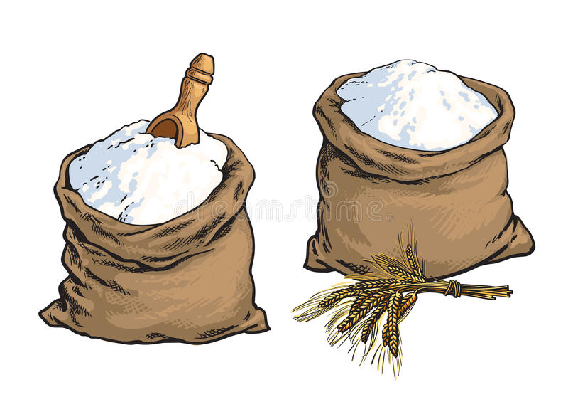 A farinha de pão do Wholemeal ensaca com as orelhas de madeira da colher e do trigo ilustração royalty free