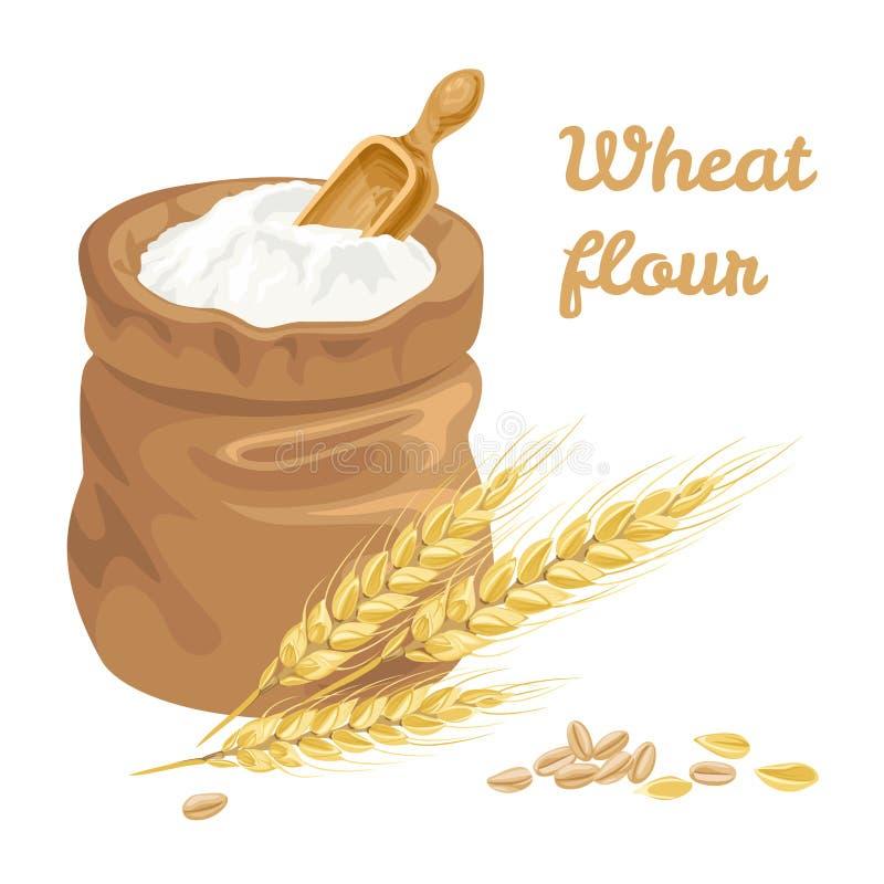 Farinha de trigo no saco Orelhas do vetor do trigo e da grão ilustração do vetor