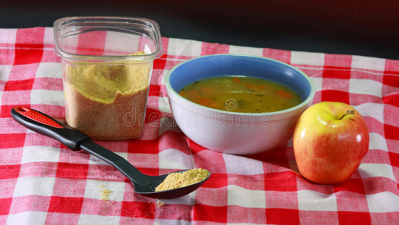 Farinha do Flaxseed na refeição foto de stock royalty free