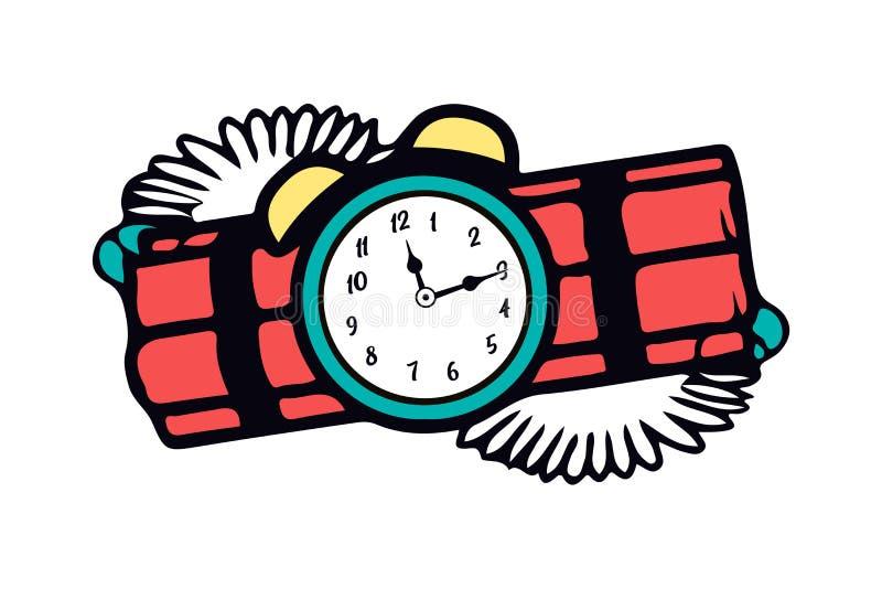 Farlig antänd röd dynamit för tecknad film med den gamla klockatidmätaren Symbolet av förstörelsen och skräcken Vektorillustratio stock illustrationer