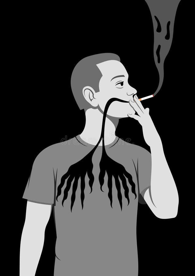 farlig hälsa som röker till stock illustrationer