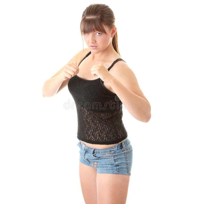 farlig kämpegatakvinna fotografering för bildbyråer