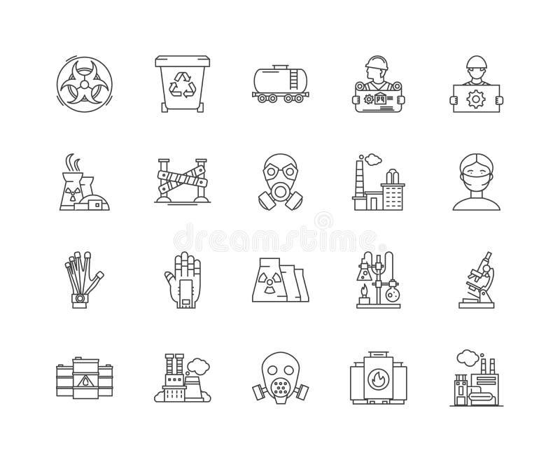 Farlig linje symboler, tecken, vektoruppsättning, översiktsillustrationbegrepp för förlorad ledning royaltyfri illustrationer