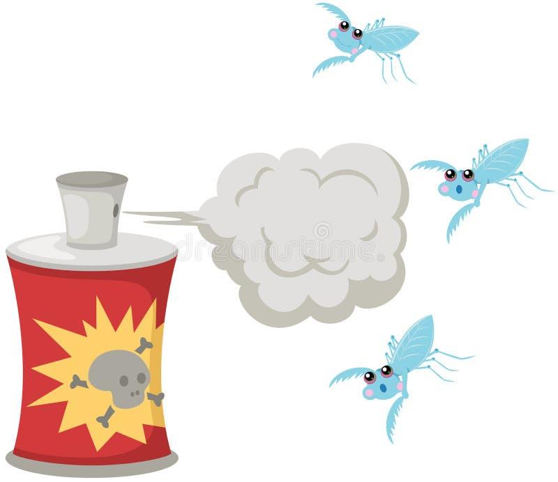 Farlig sprej med myggan royaltyfri illustrationer