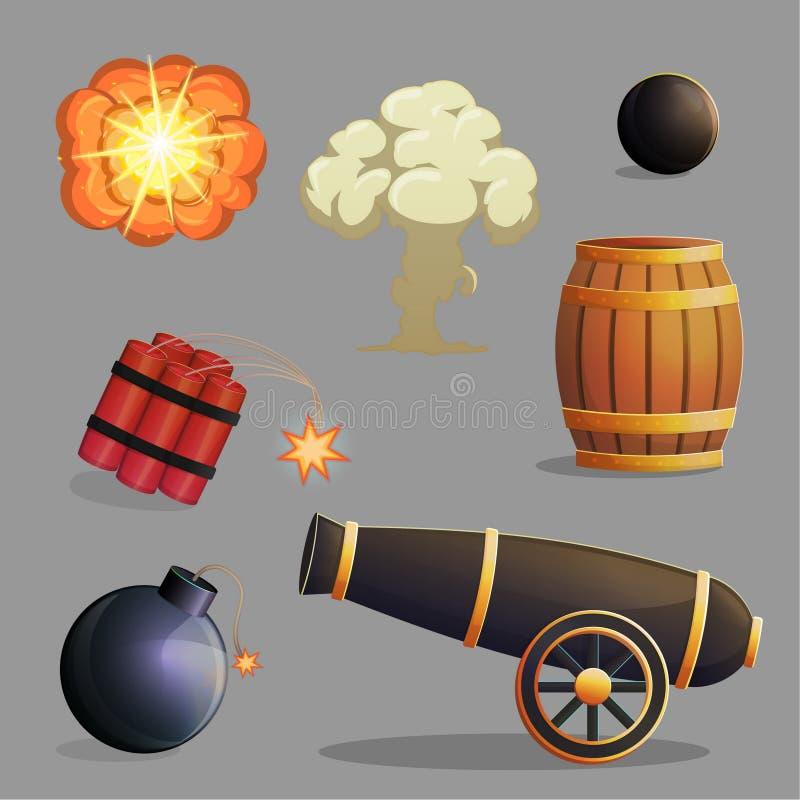 Farliga explosiva objekt och explosioner vektor illustrationer