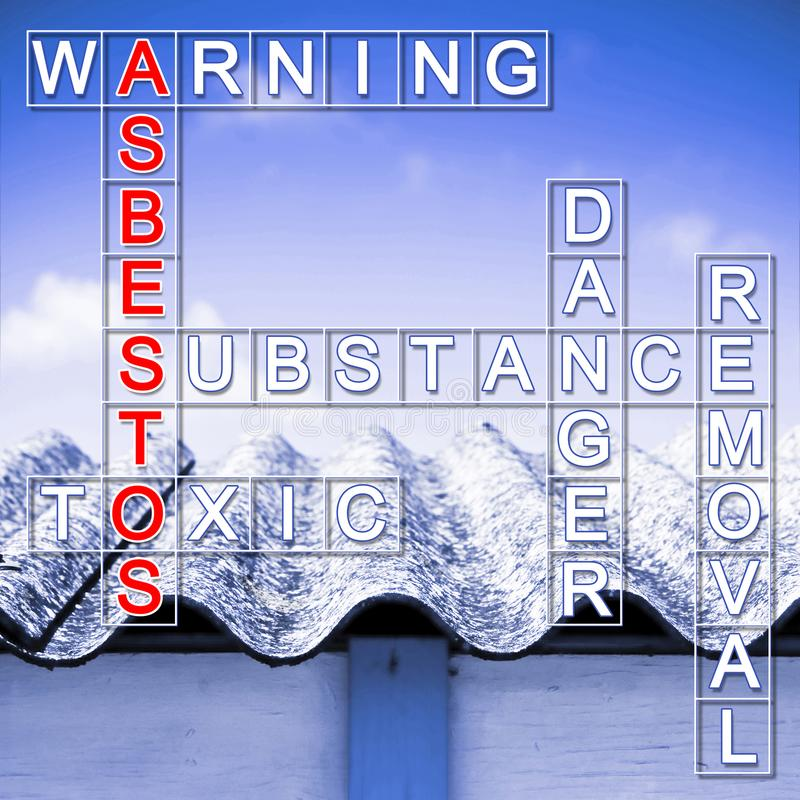Farligt asbesttak som ska tas bort - lösningen till amiantusen royaltyfri foto