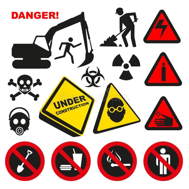 Farligt etiketttecken för varning vektor illustrationer