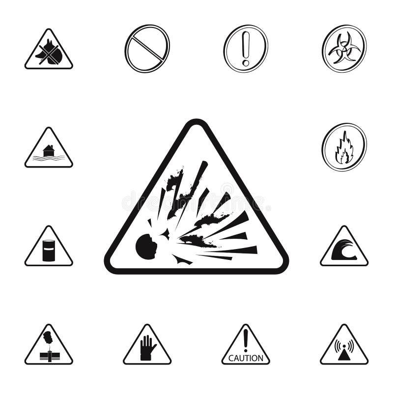 farligt explosiv teckensymbol Detaljerad uppsättning av symboler för varningstecken Högvärdigt kvalitets- tecken för grafisk desi stock illustrationer