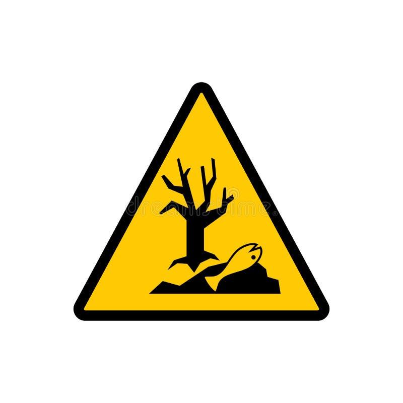 Farligt för tecknet för miljögulingtriangel Farligt för tecknet för miljöfaravektor vektor illustrationer