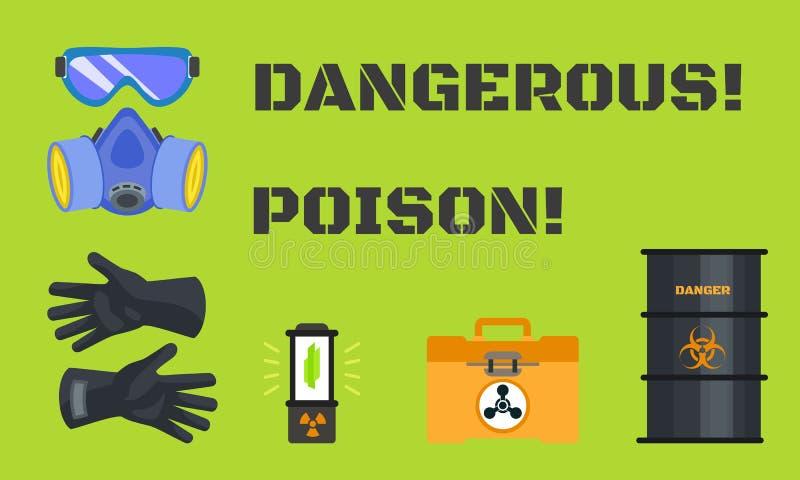 Farligt giftbegreppsbaner, plan stil royaltyfri illustrationer