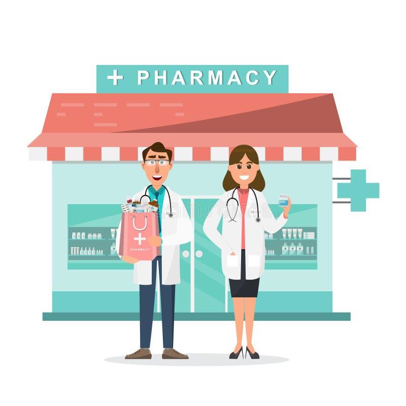 farmácia com doutor e enfermeira na frente da drograria ilustração royalty free