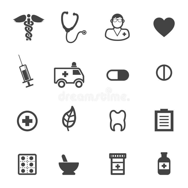 Farmácia e ícones médicos ilustração do vetor