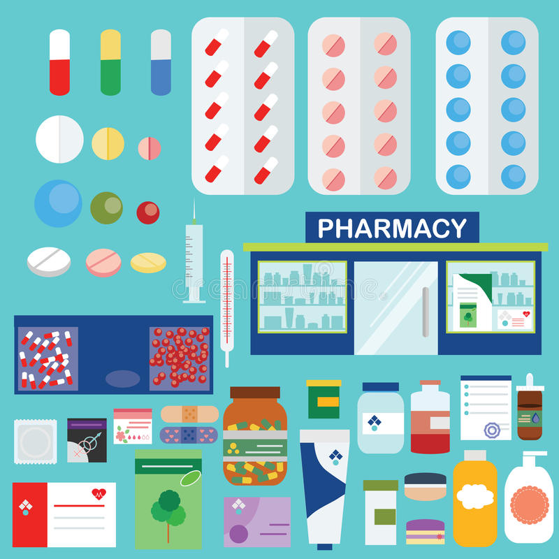 Farmácia e ícones médicos, grupo de elementos infographic ilustração royalty free