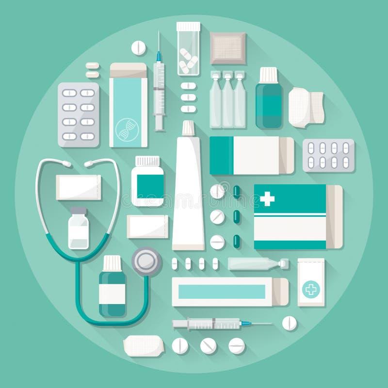 Farmácia e medicamentações ilustração royalty free