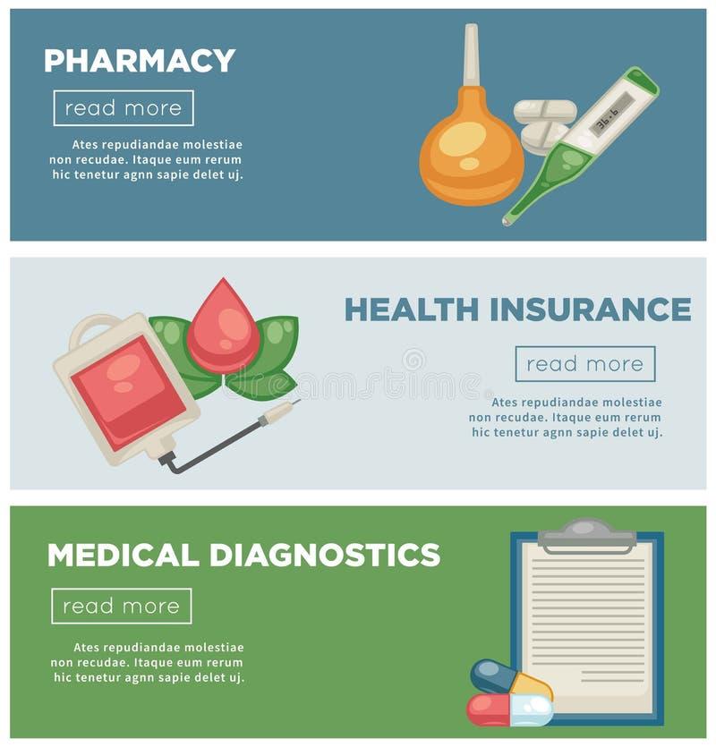 Farmácia e moldes médicos dos página da web dos diagnósticos do seguro de saúde ilustração do vetor