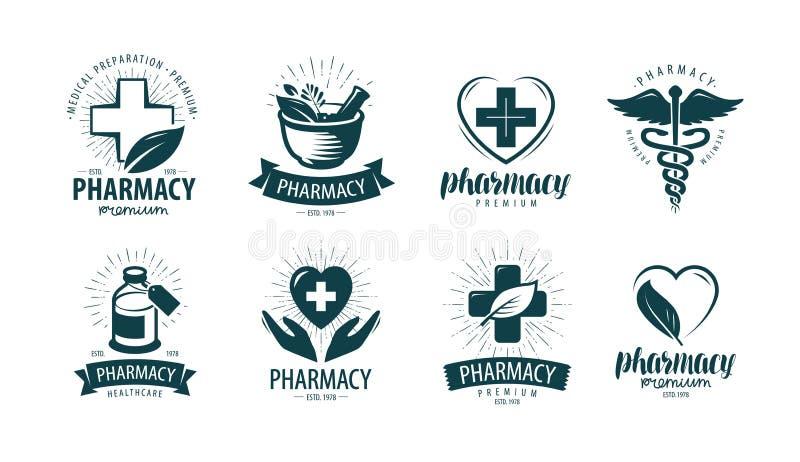 Farmácia, logotipo da drograria ou etiqueta Medicina, símbolo da medicamentação Ilustração do vetor ilustração stock
