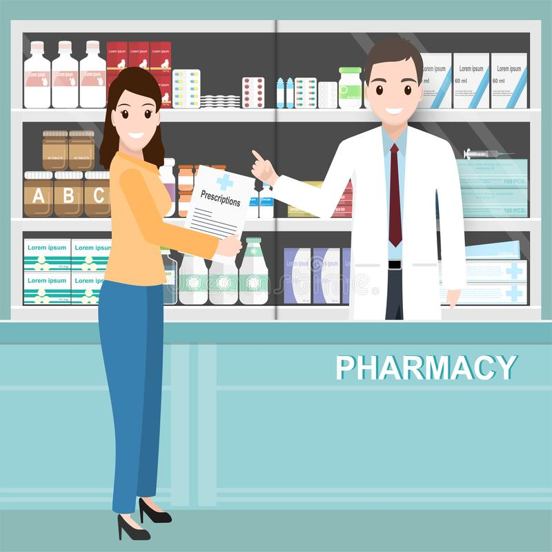 Farmácia ou drograria com o farmacêutico e a mulher que guardam prescrições ilustração stock