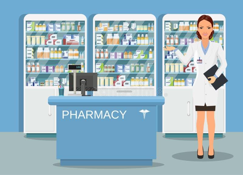 Farmácia ou drograria interior moderna ilustração stock