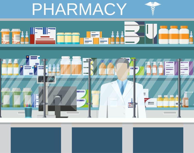 Farmácia ou drograria interior moderna ilustração do vetor