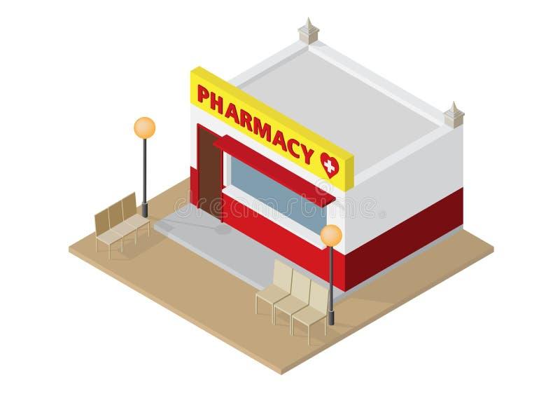 Farmácia ou drograria isométrica ilustração royalty free
