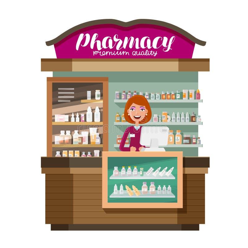Farmácia, produto farmacêutico, drograria Medicina, droga, conceito da medicamentação Ilustração do vetor dos desenhos animados ilustração stock