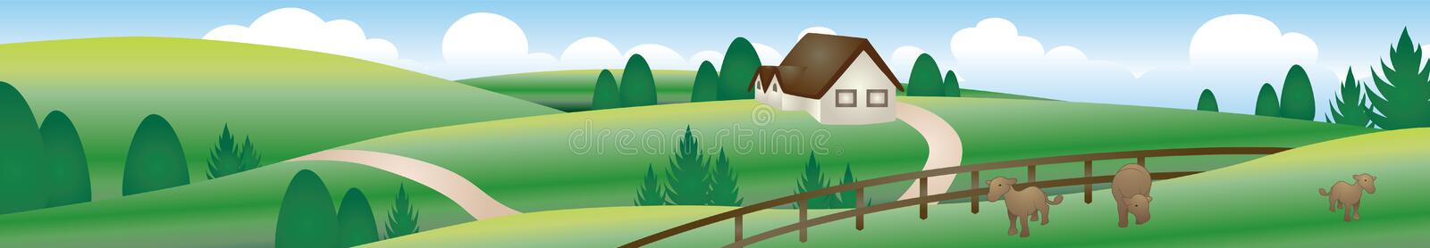 Download Farm stock vector. Image of view, scenery, green, cloud - 12912888