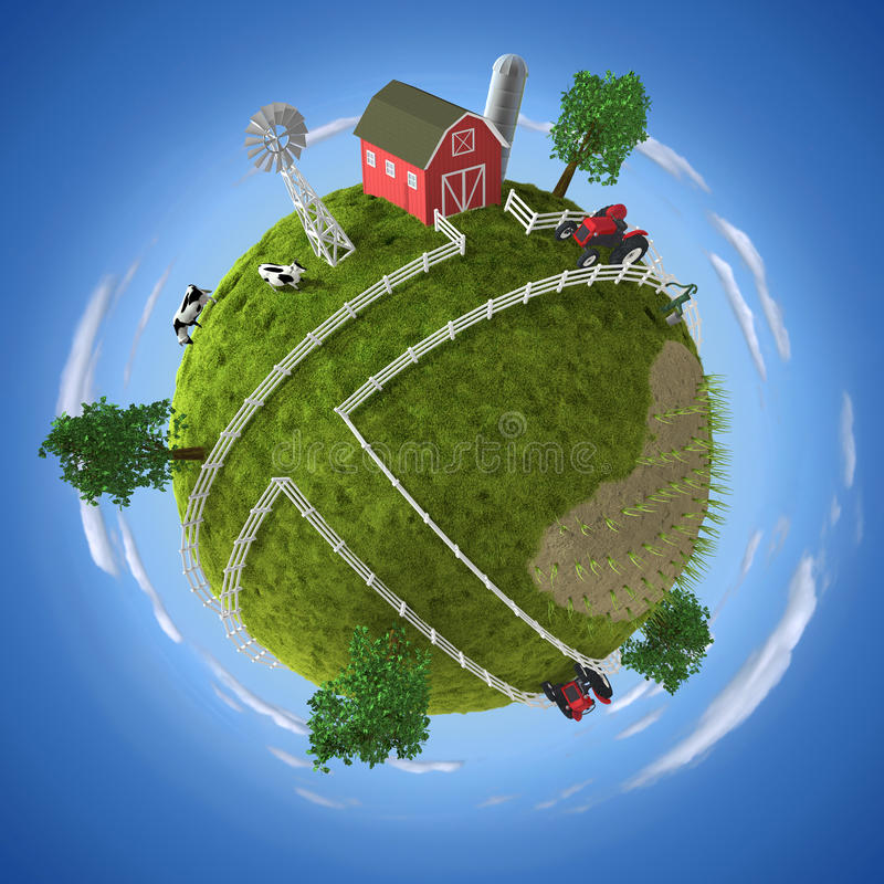 Farm. 3D concept with farm on the globe royalty free illustration