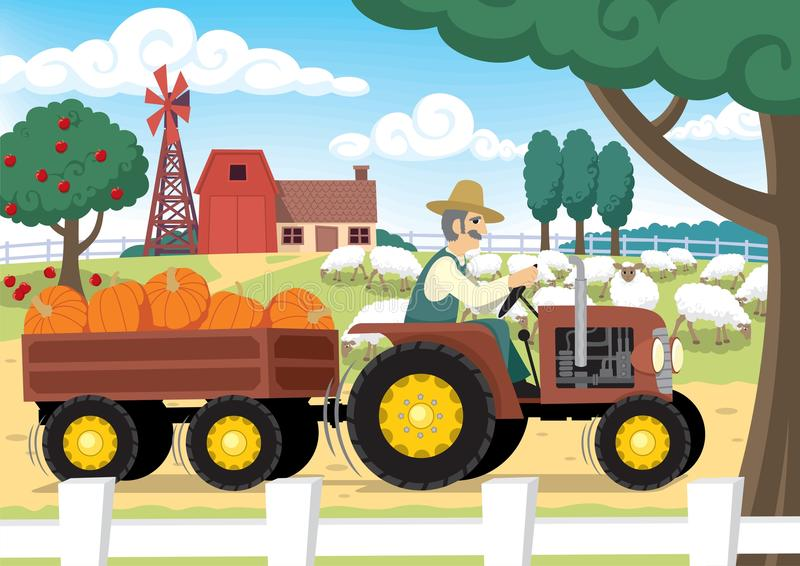 "Farm. ""Old MacDonald had a farm…"" No transparency and gradients used royalty free illustration"